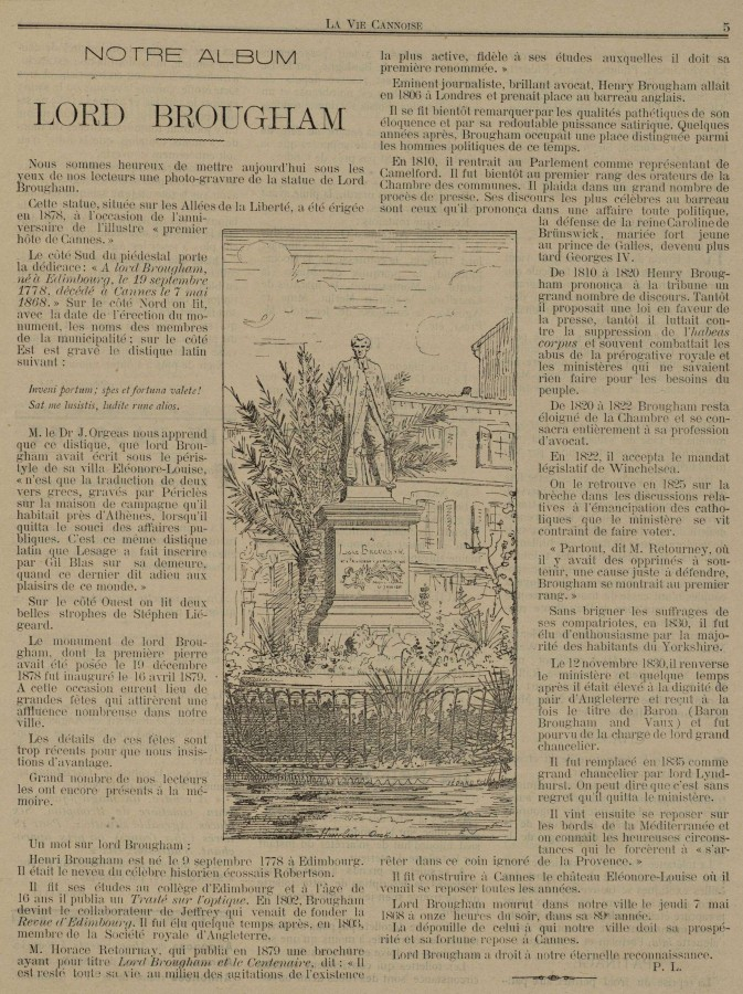 Lord Brougham, article de La Vie Cannoise, 1894, AMC 101Num7