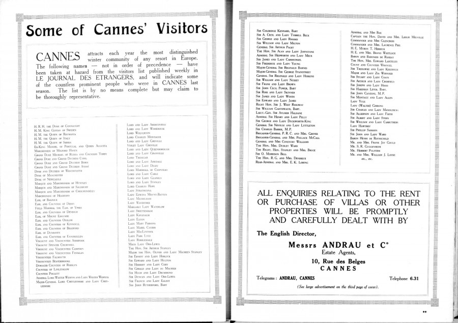 Some of Cannes' visitors saison 1924