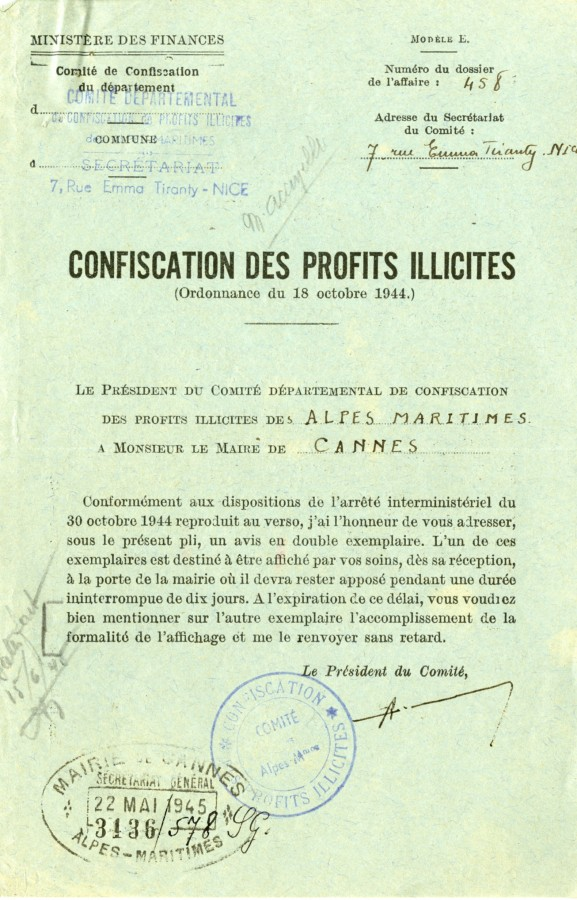 Confiscation des profits illicites, 1945 (4H61)