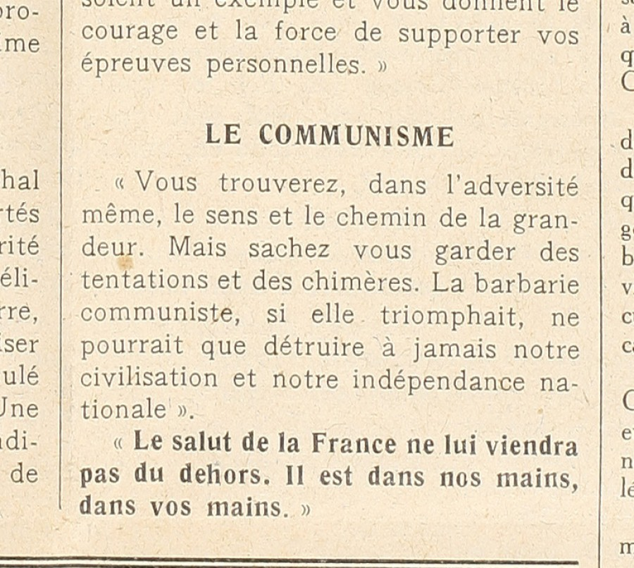 Article de presse du journal le Littoral sur le Communisme, 8 avril 1943 (Jx45)