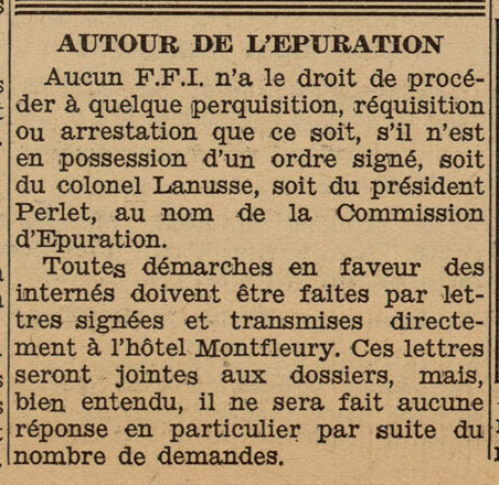Article de presse du journal Cannes Riviera sur l'épuration, 16 septembre 1944 (Jx108)