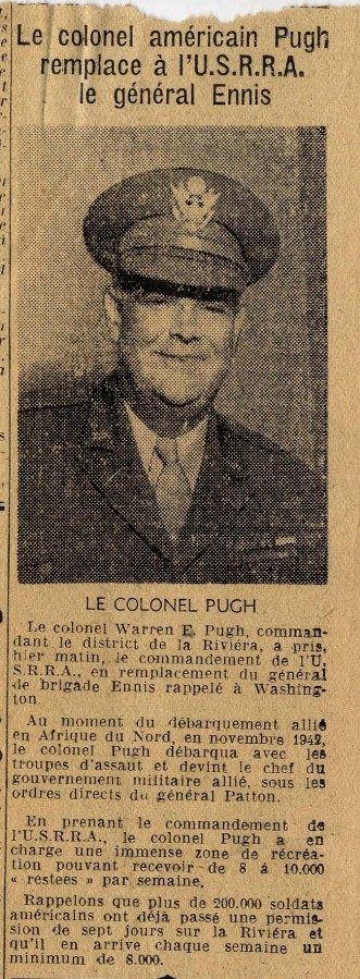 Le colonel Pugh a la charge de l'USRRA, article de presse (4H60)