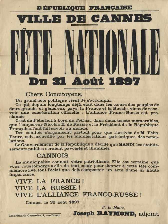Célébration de l'alliance franco-russe à Cannes, 1897 (1J18)