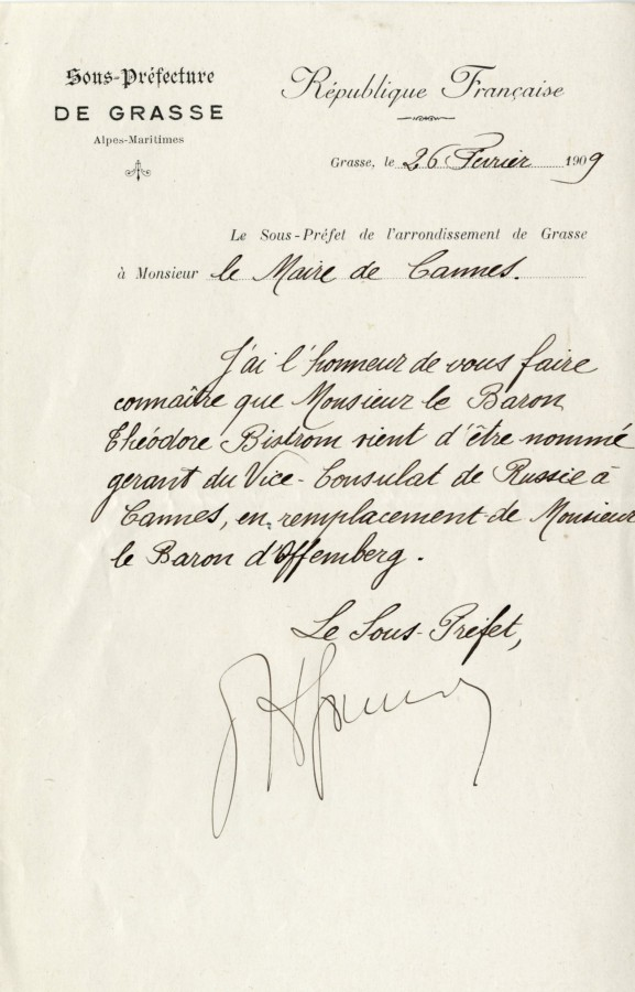 Nomination au vice-consulat, 1909 (2J40)