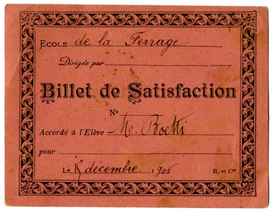 Billet de satisfaction 1906, les 'bons points' (prêt)